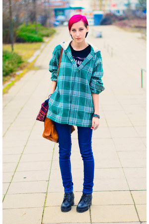 plaid hooded second hand shirt - nowIStyle bracelet