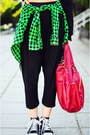 Tartan-second-hand-shirt-draped-capri-nmenouno-pants-cropped-sly-sweatshirt