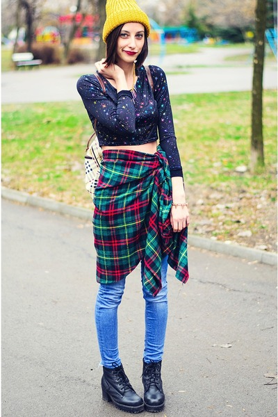 cropped asos top - plaid oversize nowIStyle shirt - Bornpretty necklace
