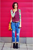 second hand top - boyfriend sammydress jeans - sammydress necklace
