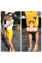 white H&M blouse - yellow H&M skirt