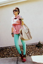bubble gum sleeveless ann taylor top - aquamarine high waisted urban og leggings