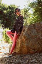 gold french tip yaya flats - bubble gum neon 7Senses leggings