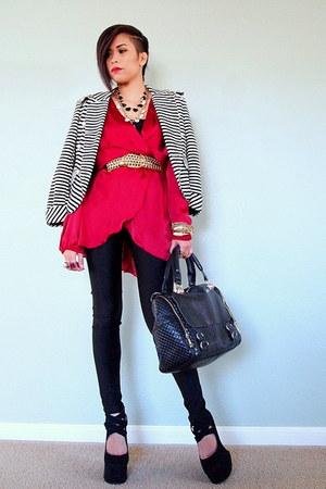 white Joyce Shop blazer - ruby red wrap dress Love dress
