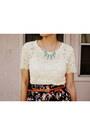 Cream-lace-lounie-top-turquoise-blue-pointed-lylif-necklace