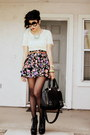 Cream-lace-lounie-top-black-floral-print-forever-21-skirt