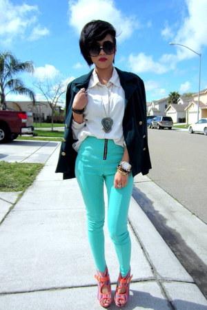 peach platform Bumper heels - aquamarine high waist Estam leggings