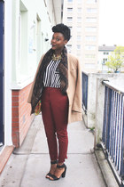 tan H&M blazer - black Zara shirt - crimson H&M pants