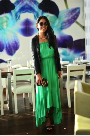 maxi dress - lace Juicy Couture blazer - Miu Miu bag - Stella McCartney sandals