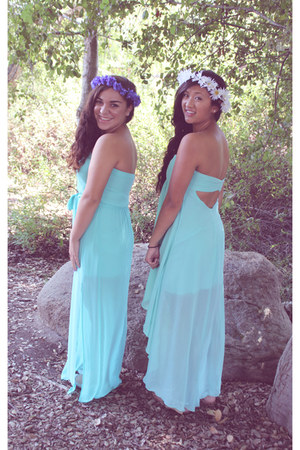 aquamarine luluscom dress - light purple flower crowns handmade hair accessory