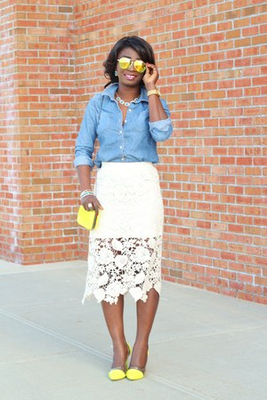 white sheer lace Forever 21 skirt - blue chambray JCrew shirt