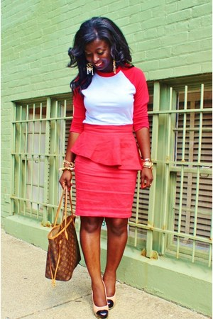 red peplum Zara skirt - red baseball tee American Apparel shirt