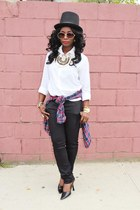 white nicole miller shirt - black ann taylor pants