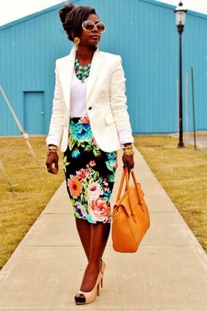 black H&M skirt - white Zara blazer - camel tillary tote JCrew purse
