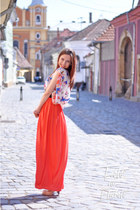 carrot orange maxi skirt skirt - white top