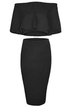 FDAvenue 2 Piece Ruffle Pencil Skirt In Black