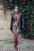 vintage 60s dress - italian leather vintage 70s boots - hat