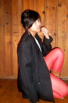 red stockings - black blazer - brown boots