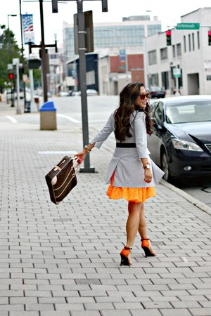 orange Express dress - silver vintage jacket - dark brown Louis Vuitton bag