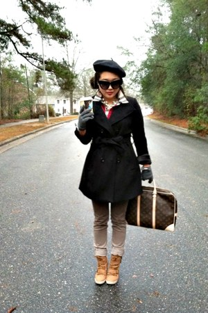 Louis Vuitton bag - Forever 21 coat - beret H&M hat - wedges UrbanOG sneakers