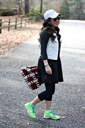 red Prada bag - nike shoes - black Forever 21 dress - dark gray JCrew sweater