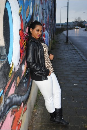 black leather jacket - black studded new look boots - white Plastic jeans