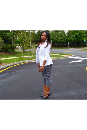 white Forever 21 blazer - silver Tannys Couture pants - Forever 21 top