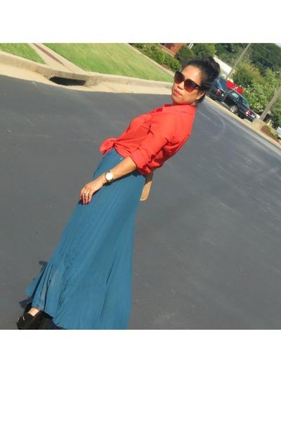 chiffon Ebay skirt - H&M sunglasses - suade SteveMadden heels