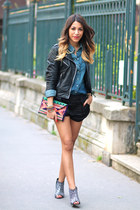 clutch maison scotch bag - leather La Canadienne jacket - denim Levis shirt
