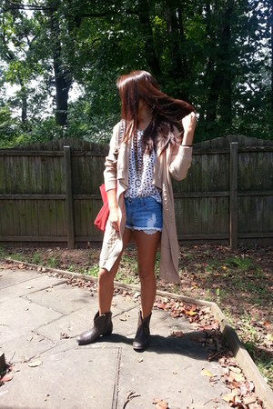 dark brown Steve Madden boots - white Pimkie shirt - ruby red Lucky Brand bag