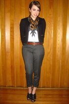 white Rogan shirt - lucca couture blazer - Deena & Ozzy shoes - vintage scarf