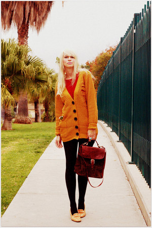 mustard urban1972 cardigan - crimson vintage blouse