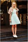 Blue-vintage-dress-white-dieppa-restrepo-shoes-brown-lara-coat