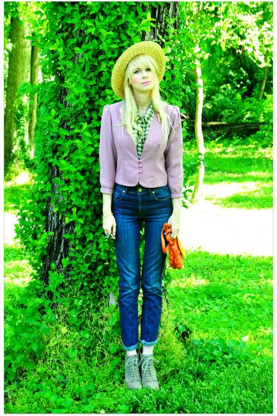 vintage jacket - vintage blouse