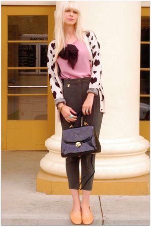 pink vintage blouse - green vintage pants - beige Urban 1972 cardigan