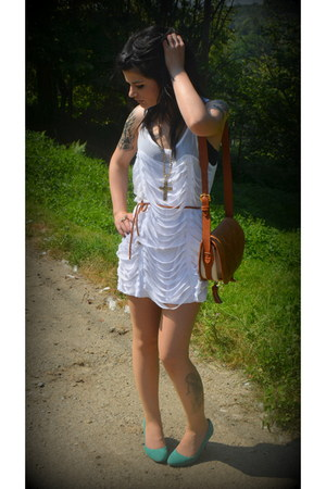 white Fairly dress - brown loewe bag - aquamarine Zara flats