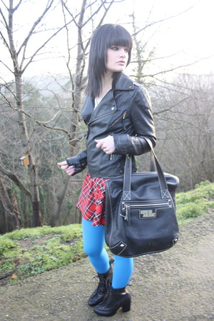 black rag&amp;bone boots - black Miss jacket - sky blue Miss Selfridge tights