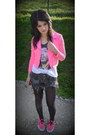 Hot-pink-h-m-jacket-white-h-m-shirt-gray-zara-shorts