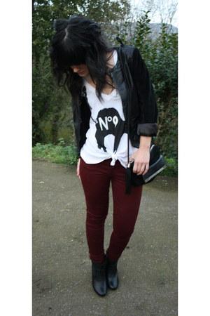 black Mango boots - black Topshop jacket - black asos bag