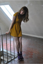 gold Bershka dress - deep purple New-Look socks - light brown Zara sandals