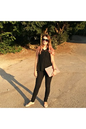 black Vero Moda pants - salmon Bershka bag - light pink H&M flats