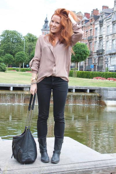 black Yesstyle boots - black H&M jeans - pink Zara shirt