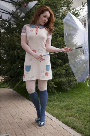 white Kinga Varga dress - white falke tights - blue falke tights - blue no name