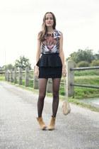 animal print Primark top - suede asos boots - leather Zara bag