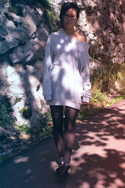 heather gray Zara men jumper - black fashionpash boots