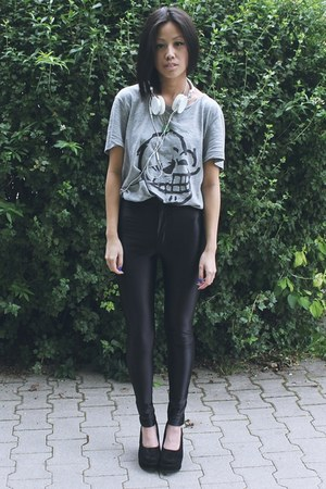 heather gray Cheap Monday shirt - black Nelly heels - black American Apparel pan
