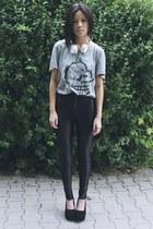 heather gray Cheap Monday shirt - black Nelly heels - black American Apparel pan