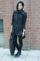black Buffalo boots - black copcopine jacket - dark gray vintage sweater