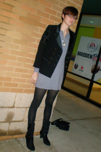 escada jacket - American Apparel dress - HUE tights - Connie shoes - necklace