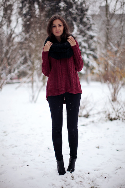 crimson cable knit nowIStyle sweater - black ankle boots asos boots